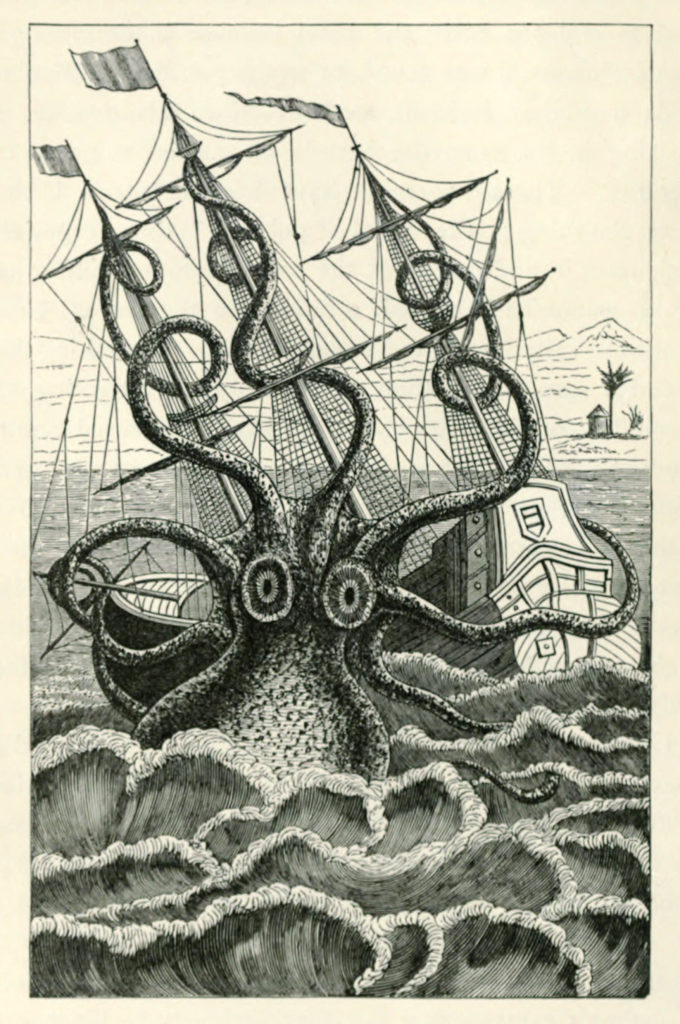 E7KG1H Giant Octopus or Kraken attacking ship, illustration Pierre Denys de Montfort (1766?1820), see description for more information.. Image shot 1883. Exact date unknown.